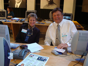 Carolina Meadows Chief Operating Officer Elsie Norton, left, takes pledges on-air with Vice President of Plant Operations Joe Zannini.