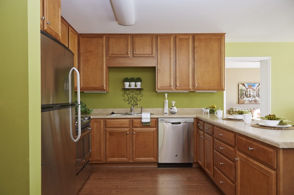 View of a kitchen inside a Carolina Meadows apartment