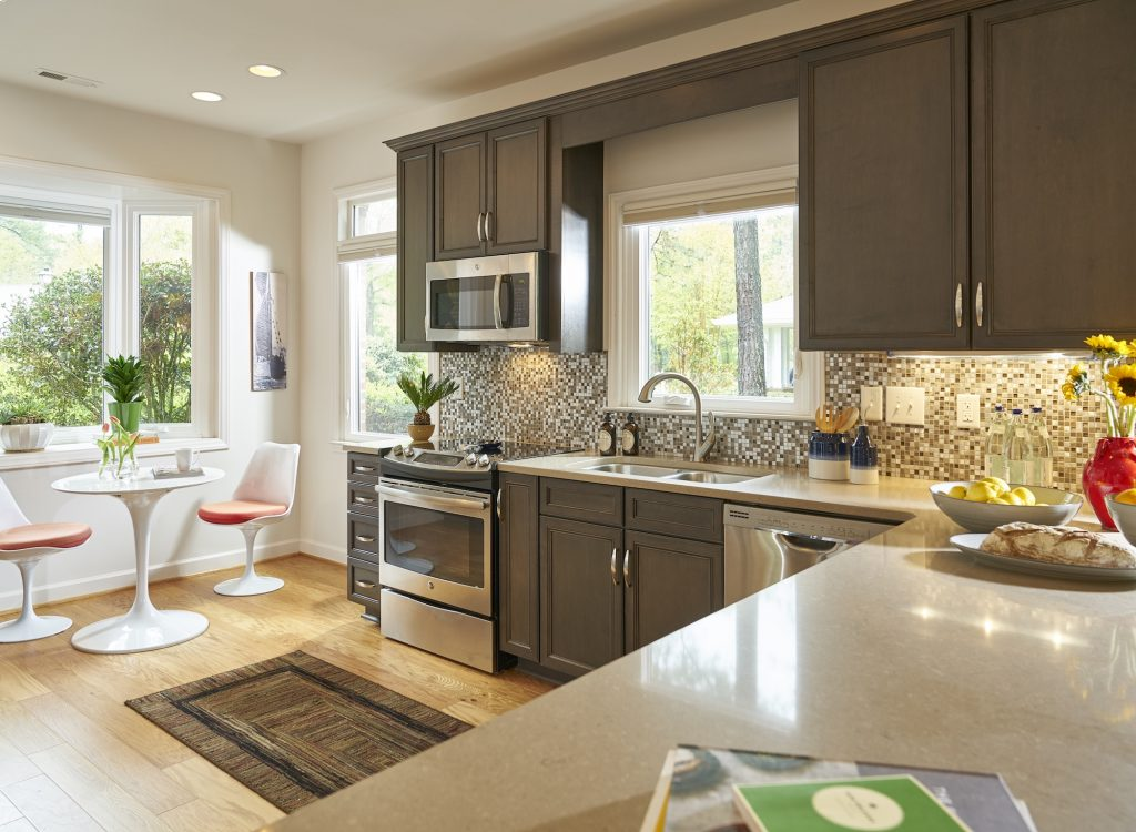 View of a kitchen inside of a Carolina Meadows villa