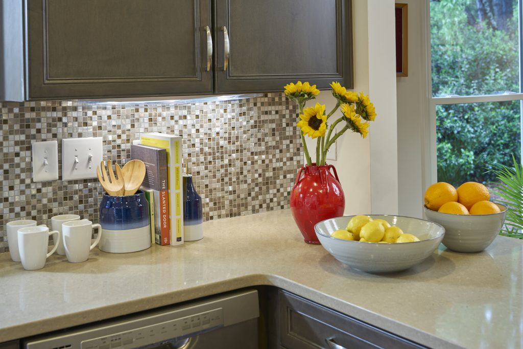 A kitchen counter inside a Carolina Meadows villa