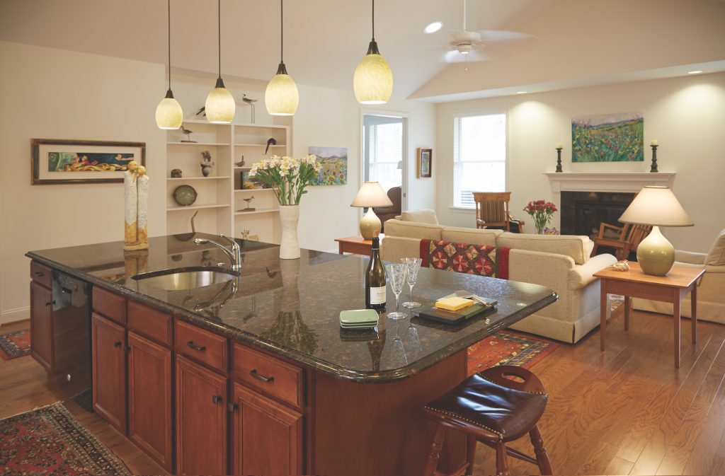 View of a kitchen island inside of a Carolina Meadows villa