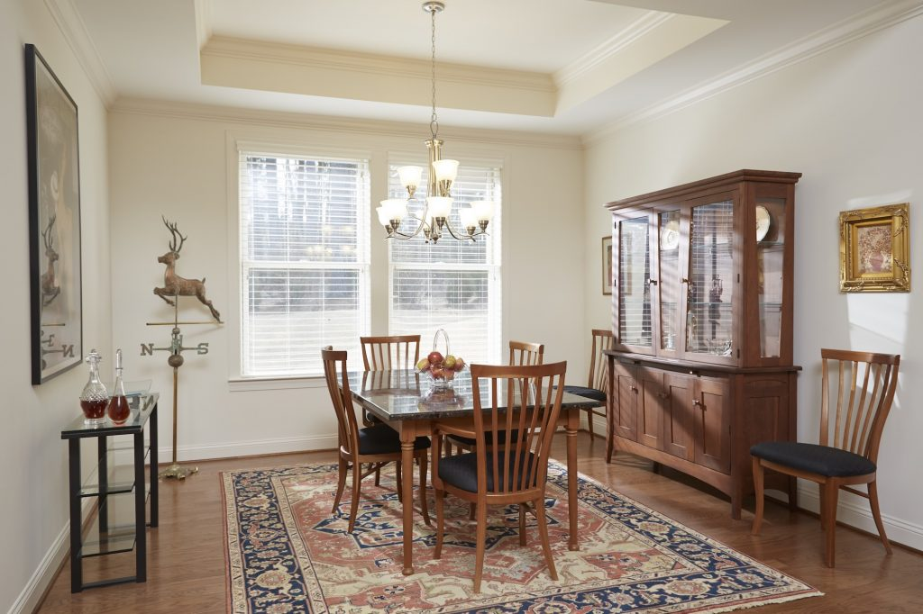 View of a dining room inside of a Carolina Meadows villa