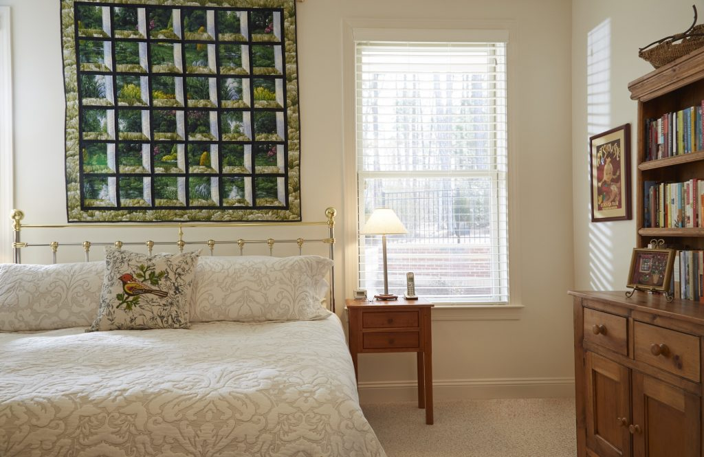 View of a bedroom in a Carolina Meadows Villa