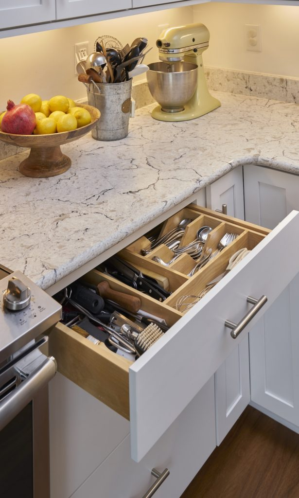 View of a drawer in a kitchen inside a Carolina Meadows villa