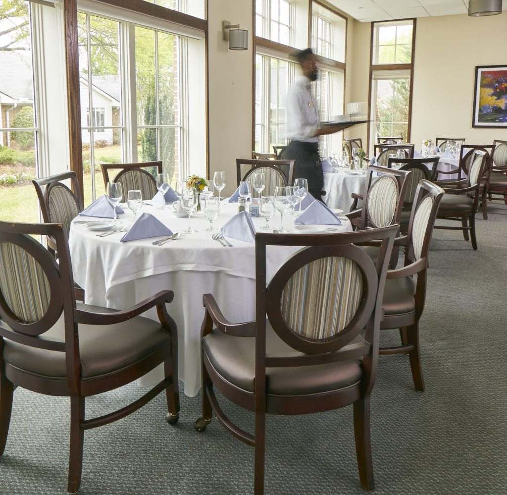 View of the Fairways Dining Room at Carolina Meadows