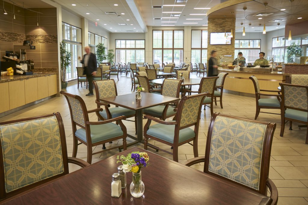 View of the Courtyard Dining Room at Carolina Meadows