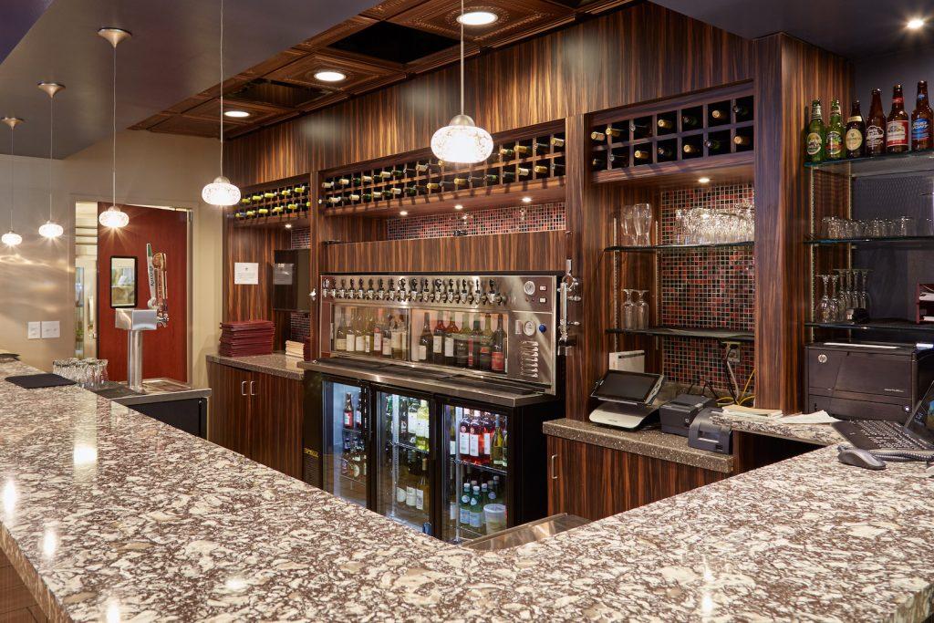 View of the bar at Courtyard Dining Room at Carolina Meadows